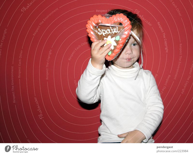 gingerbread greetings Candy Child Toddler Boy (child) 1 Human being 1 - 3 years Feasts & Celebrations To enjoy Red Gingerbread heart Colour photo Interior shot