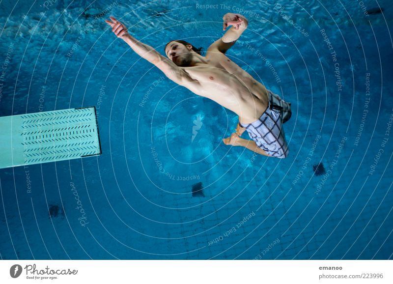 Human being Youth (Young adults) Water Blue Joy Adults Movement Jump Style Body Leisure and hobbies Flying Swimming & Bathing Lifestyle Uniqueness Swimming pool
