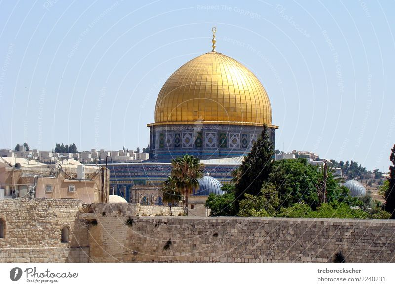 The dome of the Rock in Jerusalem, Israel Vacation & Travel Sightseeing Skyline Dome Wall (barrier) Wall (building) Religion and faith Islam City Moslem