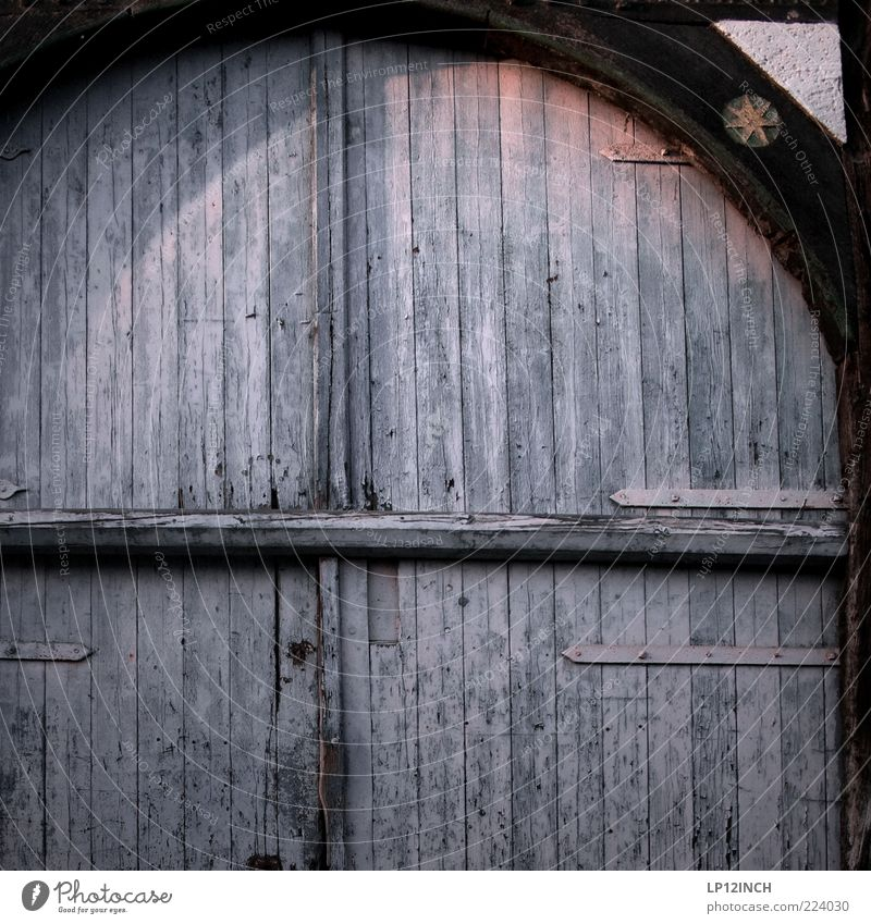 Old Blue Wood Building Door Closed Design Gate Entrance Barn Stagnating Old town Joist Wooden door Slate blue Wooden gate