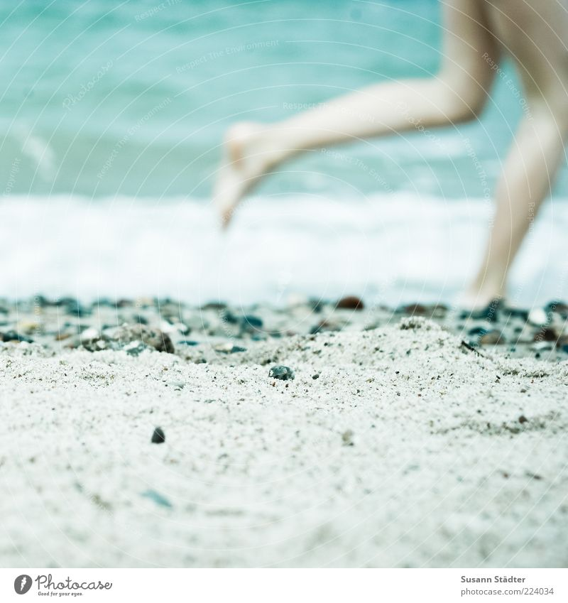 summer delights Child Infancy Legs Feet 1 Human being Waves Coast Beach Ocean Playing Summery Naked flesh Stone Sand Sandy beach Pebble Running Walking