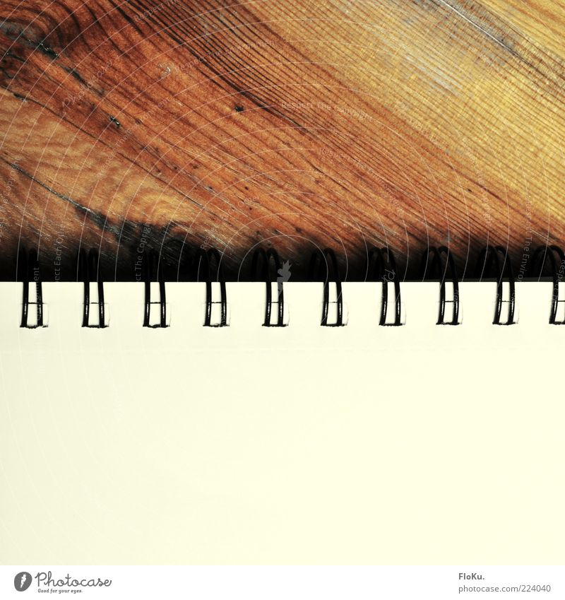 Write again. Print media Book Old Brown White Paper ring binding Wood Wood grain Empty Notepaper Piece of paper Colour photo Interior shot Close-up