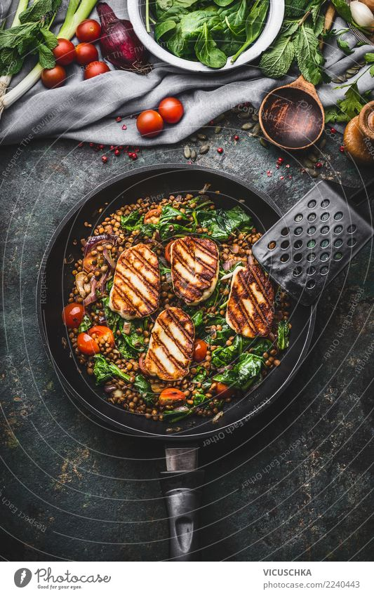 Lentils with spinach and fried cheese Food Cheese Vegetable Herbs and spices Nutrition Lunch Dinner Organic produce Vegetarian diet Diet Slow food Crockery Pot