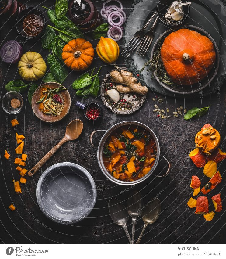 Vegan Pumpkin Dishes Food Vegetable Herbs and spices Nutrition Dinner Banquet Organic produce Vegetarian diet Diet Pot Spoon Design Healthy Eating Winter