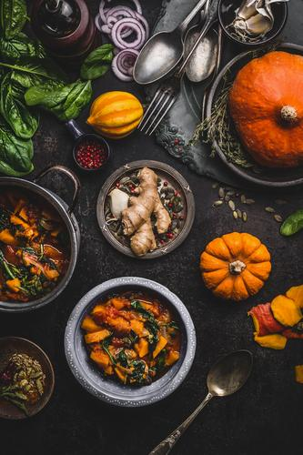 Vegan pumpkin stew with spinach Food Vegetable Soup Stew Nutrition Lunch Organic produce Vegetarian diet Diet Crockery Pot Style Design Healthy Healthy Eating