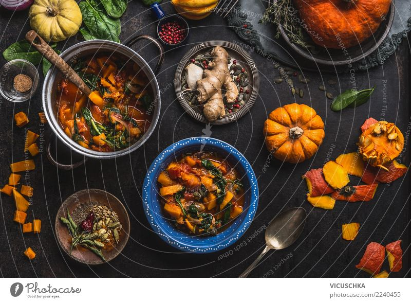 Vegan pumpkin stew dish with spinach Food Vegetable Soup Stew Herbs and spices Nutrition Lunch Dinner Organic produce Vegetarian diet Diet Slow food Crockery