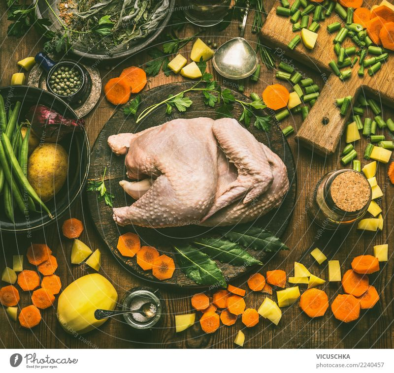 Whole chicken with cooking ingredients Food Meat Vegetable Soup Stew Herbs and spices Nutrition Lunch Dinner Banquet Organic produce Slow food Crockery Design