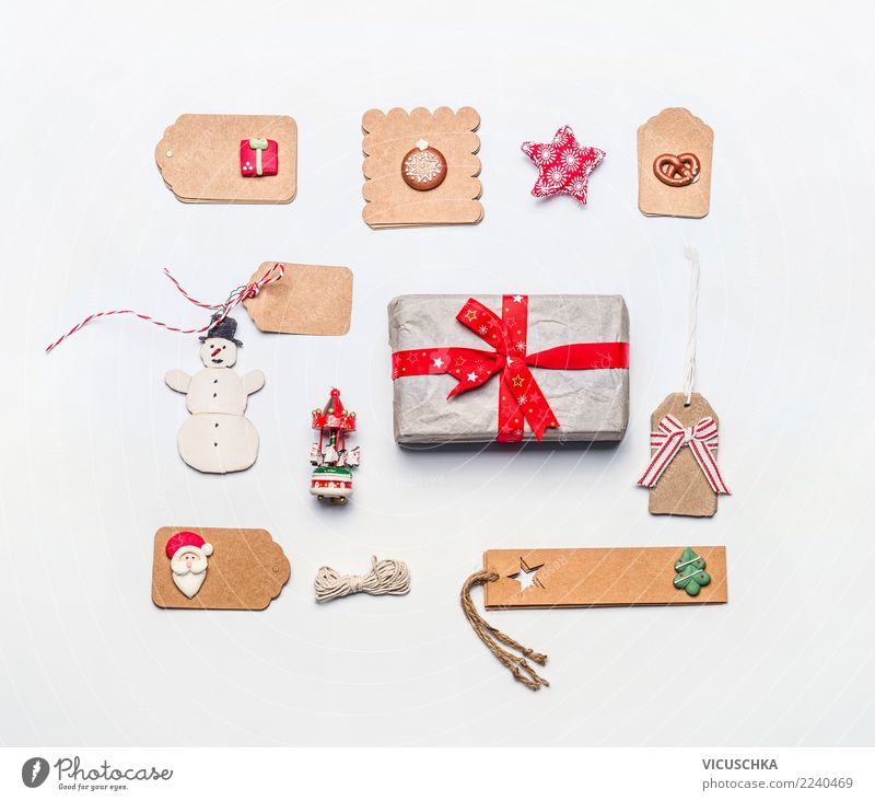 Christmas Gift Packaging Still Life Shopping Style Design Winter Desk Feasts & Celebrations Christmas & Advent Paper Package Decoration Sign Ornament Tradition