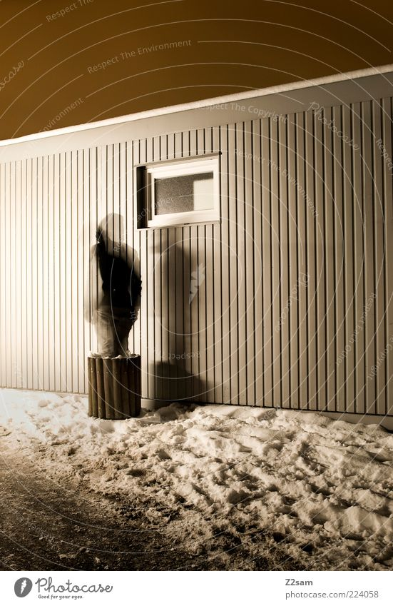 Beam me up House (Residential Structure) Human being 1 Winter Snow Building Architecture Stand Exceptional Dark Cold Perturbed Mysterious Dream Window