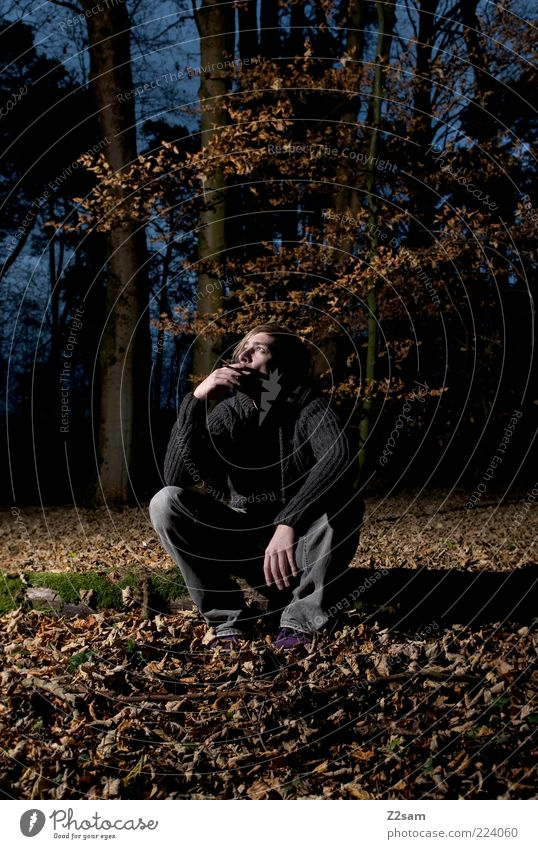 Human being Nature Youth (Young adults) Tree Leaf Calm Adults Loneliness Forest Autumn Dark Environment Landscape Think Sadness Dream