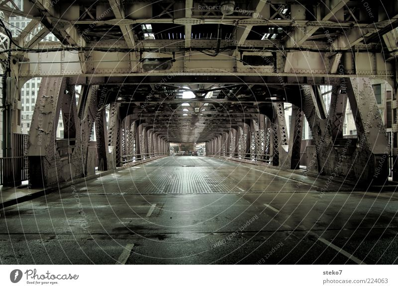 City Green Street Gray Wet Bridge Modern Tunnel Mobility Shabby Steel Illinois Lane markings Metal Steel carrier