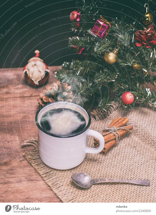 hot black coffee with steam To have a coffee Beverage Coffee Cup Spoon Table Christmas & Advent New Year's Eve Dark Fresh Hot Above Brown Black White Energy