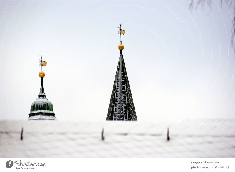 Sky Calm Winter Snow Architecture Building Religion and faith Metal Moody Ice Weather Power Gold Design Church Point