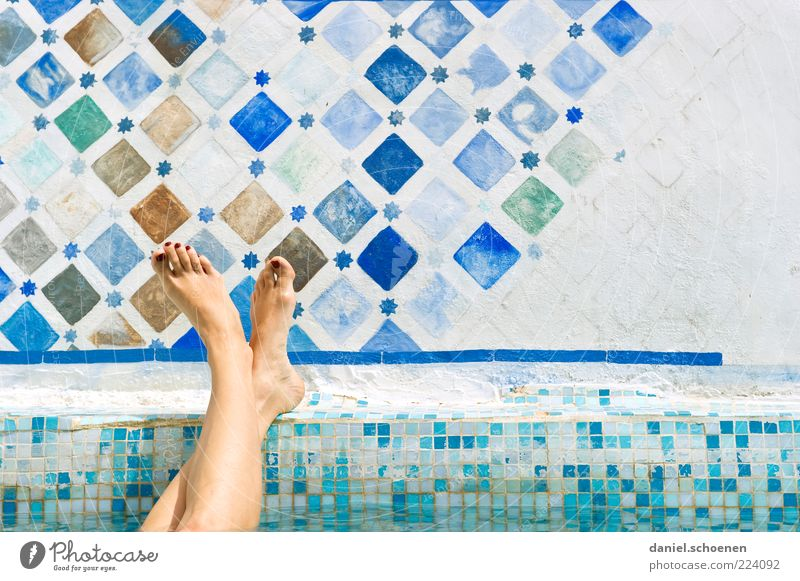 Human being Youth (Young adults) Blue Vacation & Travel White Summer Joy Calm Adults Relaxation Feminine Young woman Legs Feet Bright Swimming & Bathing