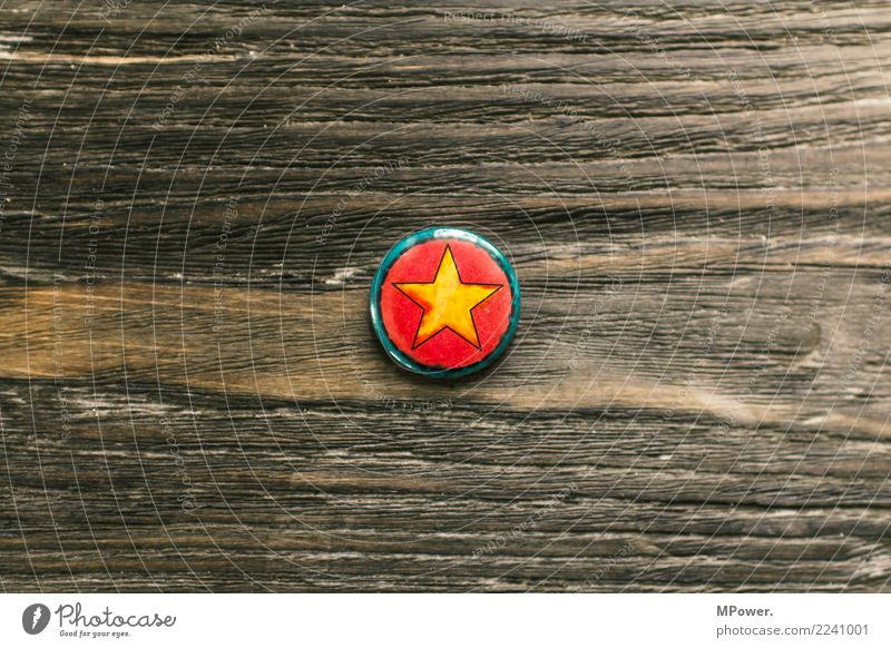 star Sign Cool (slang) Star (Symbol) Name badge Wooden table Gold Round Colour photo Copy Space left Copy Space right Copy Space top Copy Space bottom