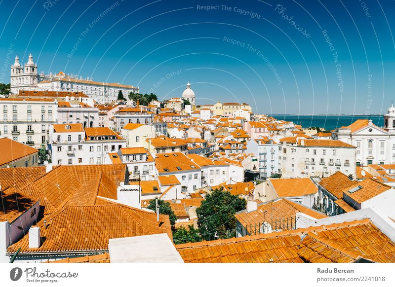 Panoramic View Of Lisbon Skyline In Portugal Vacation & Travel Blue Summer Town Beautiful Colour Landscape House (Residential Structure) Warmth Architecture