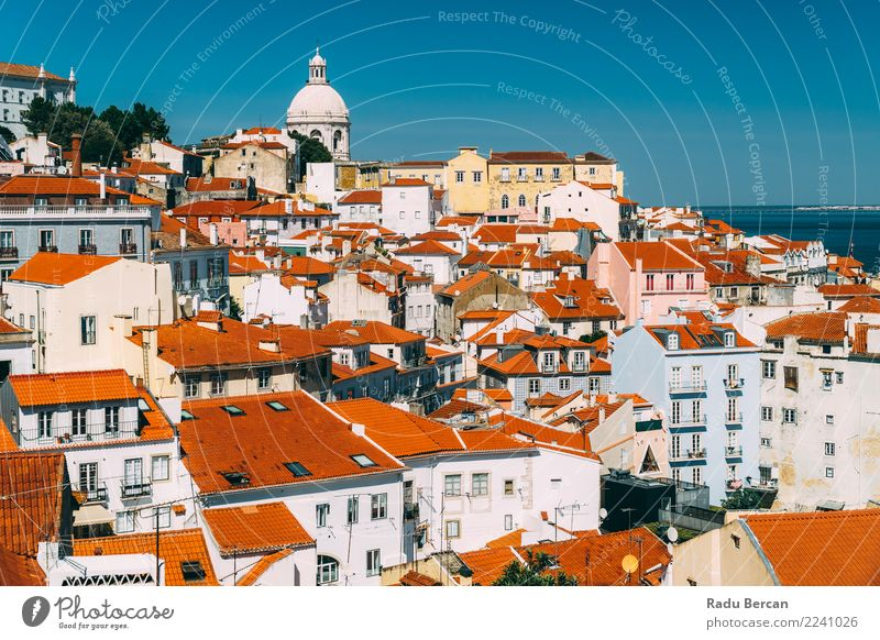 Downtown Lisbon Skyline Of Old Historical City In Portugal Vacation & Travel Summer Blue Town Beautiful Colour Landscape Red House (Residential Structure)