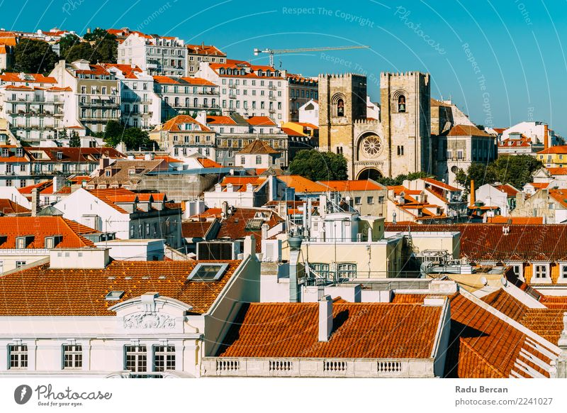 Panoramic View Of Downtown Lisbon Skyline In Portugal Vacation & Travel Blue Summer Town Landscape House (Residential Structure) Warmth Architecture Environment