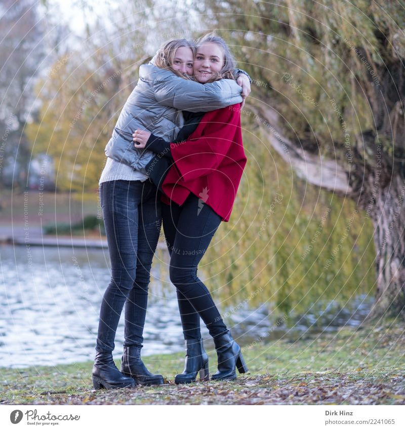 Girlfriends in the park Joy Happy Trip Human being Feminine Young woman Youth (Young adults) Friendship Couple Partner 2 18 - 30 years Adults Nature Autumn Park