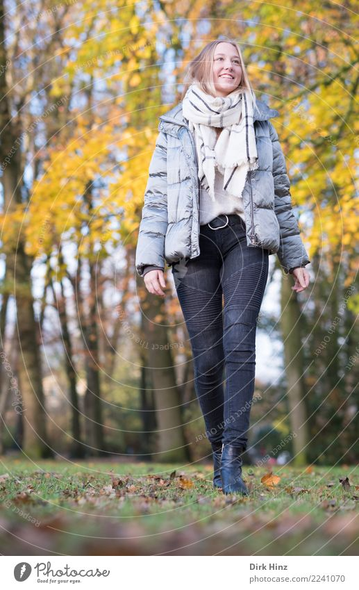 Autumn walk V Lifestyle Style Trip Human being Feminine Young woman Youth (Young adults) 1 18 - 30 years Adults Nature Fashion Jeans Jacket Scarf Boots Going