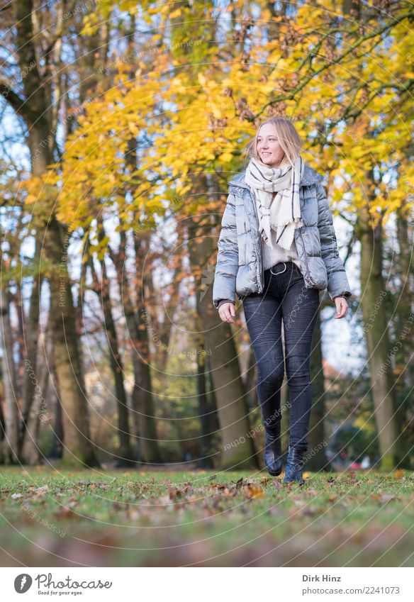 Autumn walk III Lifestyle Beautiful Human being Feminine Young woman Youth (Young adults) 1 18 - 30 years Adults Park Fashion Clothing Scarf Boots Going Blonde