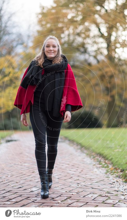 autumn walk Human being Feminine Young woman Youth (Young adults) 1 18 - 30 years Adults Fashion Going Smiling Walking Elegant Friendliness Happiness Beautiful