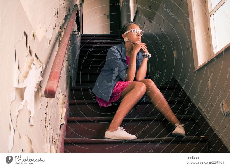 Woman Human being Youth (Young adults) Beautiful Loneliness Life Sadness Think Adults Wait Sit Stairs Lifestyle Eyeglasses Uniqueness