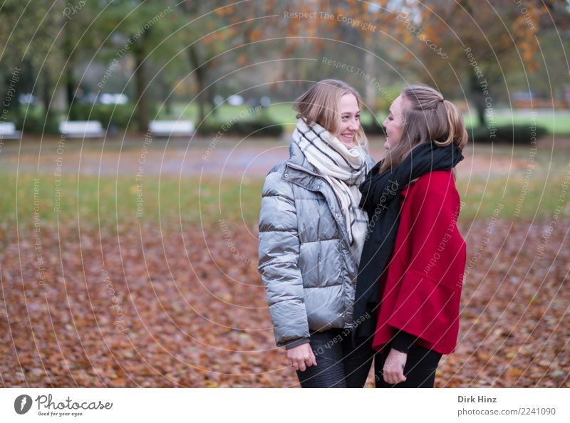 Human being Nature Youth (Young adults) Young woman Beautiful Joy 18 - 30 years Adults Life To talk Autumn Meadow Feminine Happy Trip Friendship
