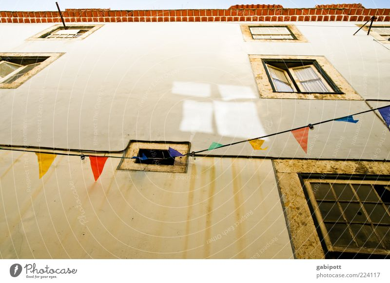 Pennant instead of chain of lights House (Residential Structure) Building Architecture Wall (barrier) Wall (building) Facade Window Sign Flag Hang Old Trashy