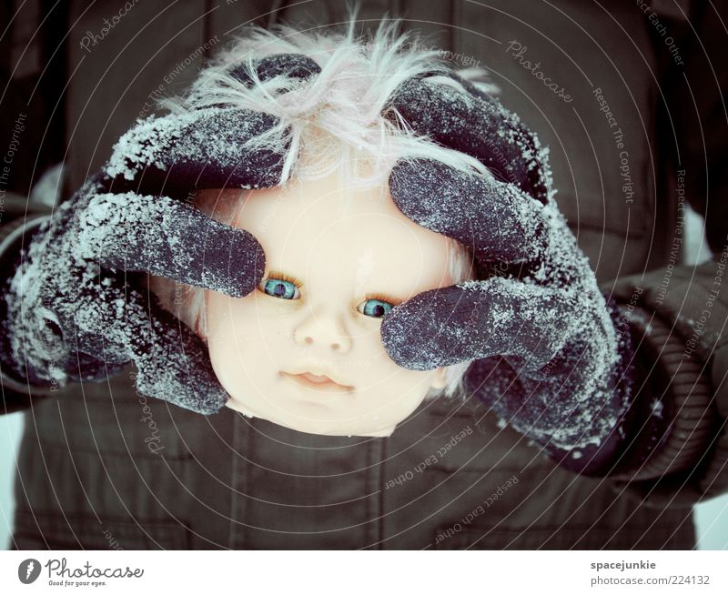Winter Black Cold Head Fear Funny Blonde Crazy Gloomy Exceptional Creepy Doll Human being Indicate Lose