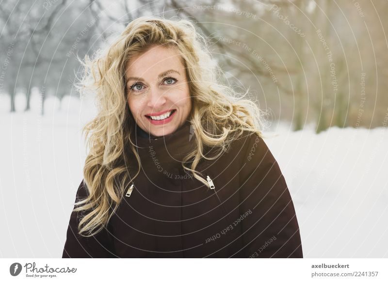 blonde woman in winter landscape Lifestyle Joy Contentment Relaxation Leisure and hobbies Winter Snow Winter vacation Hiking Human being Feminine Young woman