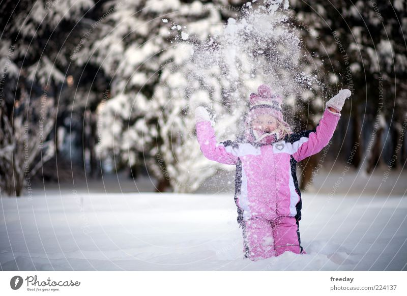Human being Child Vacation & Travel Girl Joy Winter Cold Life Snow Playing Happy Freedom Healthy Fashion Infancy Arm