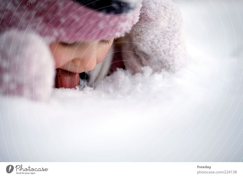 Human being Child Vacation & Travel Girl Joy Winter Cold Face Life Snow Infancy Clothing Mouth Cap Toddler Partially visible