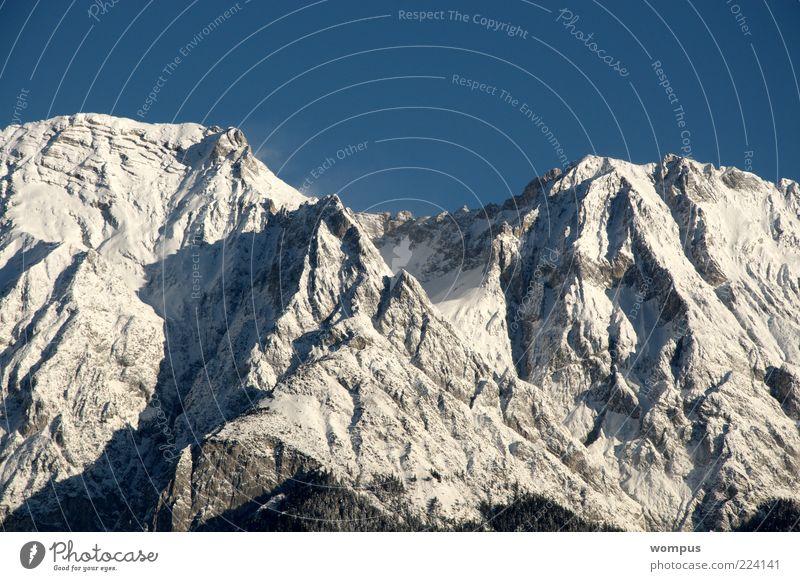 Fantastically beautiful mountain weather Environment Nature Landscape Weather Beautiful weather Rock Alps Mountain Peak Snowcapped peak Blue White Cloudless sky