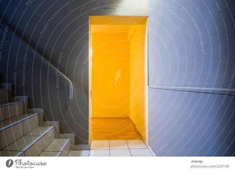 little door Interior design Wall (barrier) Wall (building) Stairs Door Illuminate Blue Yellow Banister Surprise Mysterious Exit route Way out Emergency exit