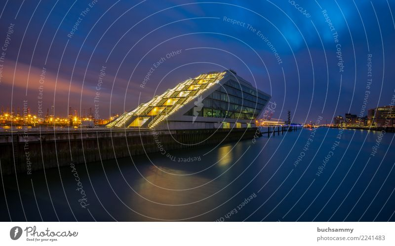 Dockland in the Port of Hamburg Office Water River Town Harbour Building Architecture Orange dockland Elbe Europe light stars Navigation Germany Sky