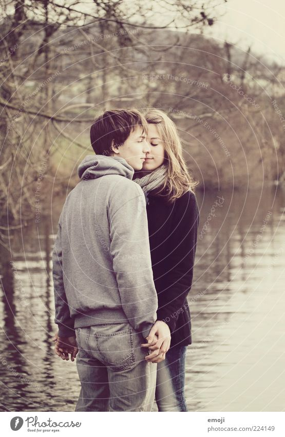 Human being Nature Youth (Young adults) Beautiful Love Feminine Autumn Couple Adults Lake Together Masculine Stand Near Touch