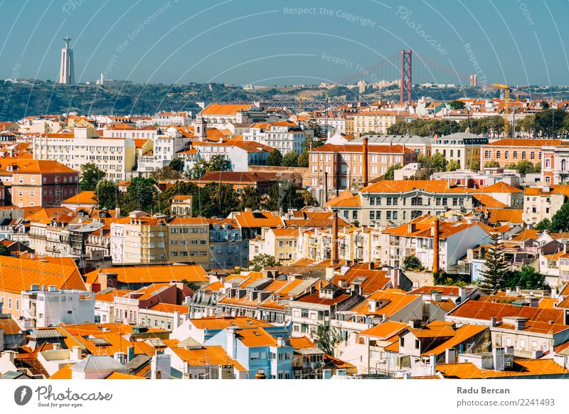 Aerial View Of Downtown Lisbon Skyline And Cristo Rei Santuario Nature Vacation & Travel Summer Town Beautiful Colour Landscape House (Residential Structure)
