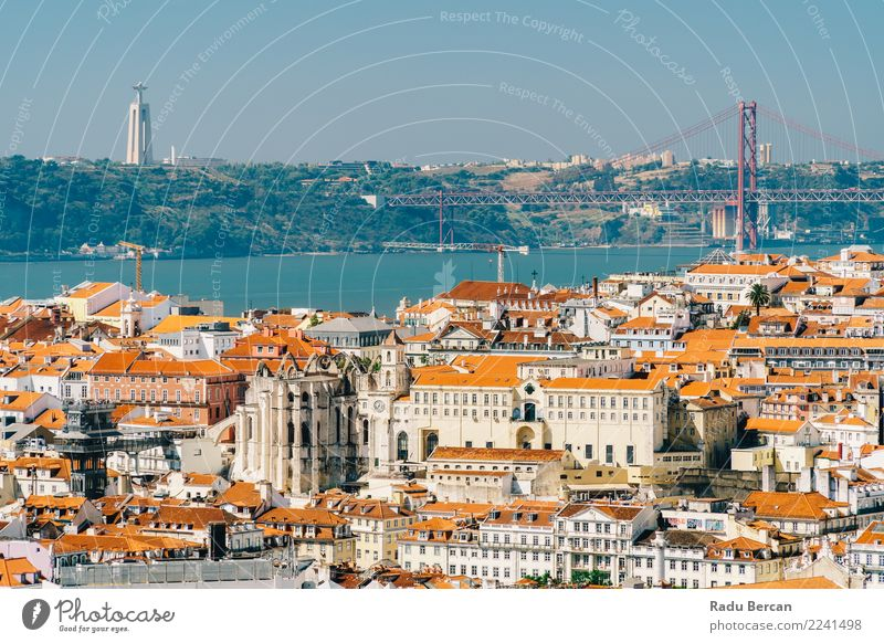Aerial View Of Lisbon Skyline And 25th April Bridge In Portugal Vacation & Travel Summer Blue Town Beautiful Colour Landscape Red House (Residential Structure)