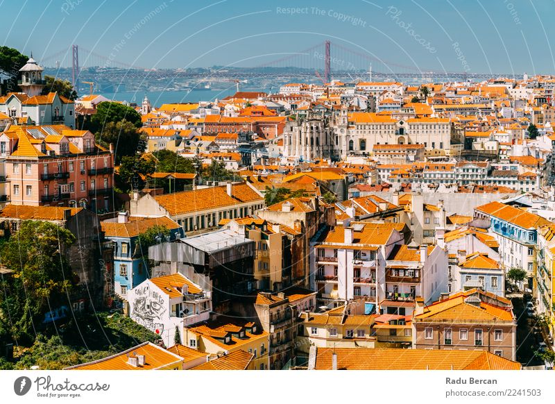 Aerial View Of Downtown Lisbon Skyline And 25 de Abril Bridge Nature Vacation & Travel Summer Town Landscape House (Residential Structure) Architecture