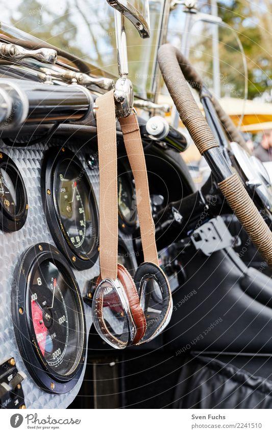 Glasses in a vintage cockpit Style Shows Vehicle Car Vintage car Cockpit Varnish Green Nostalgia Insurance Tin Steering wheel Eyeglasses Car body Colour photo