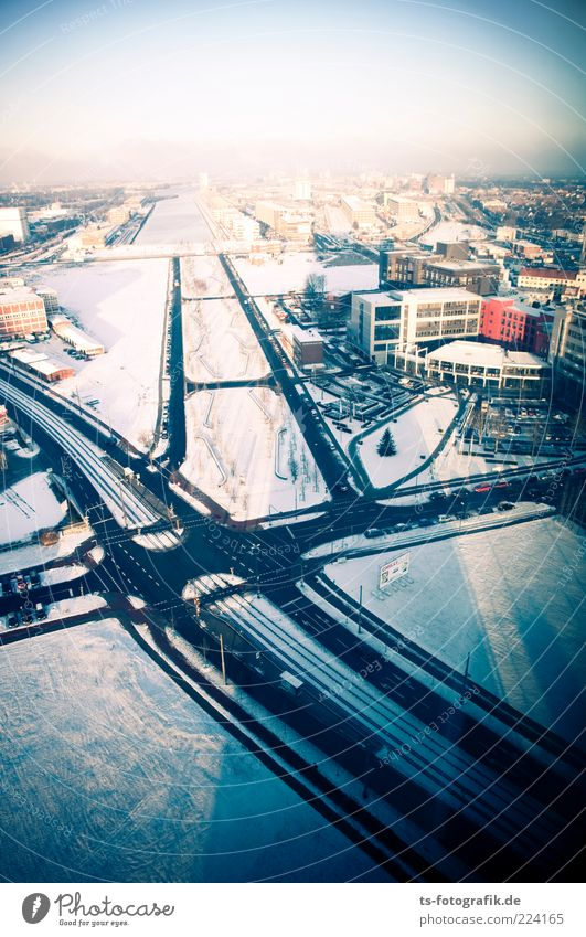 arteries Environment Sky Winter Ice Frost Snow Bremen overseas city Town Port City Outskirts Skyline Deserted High-rise Manmade structures Building Architecture