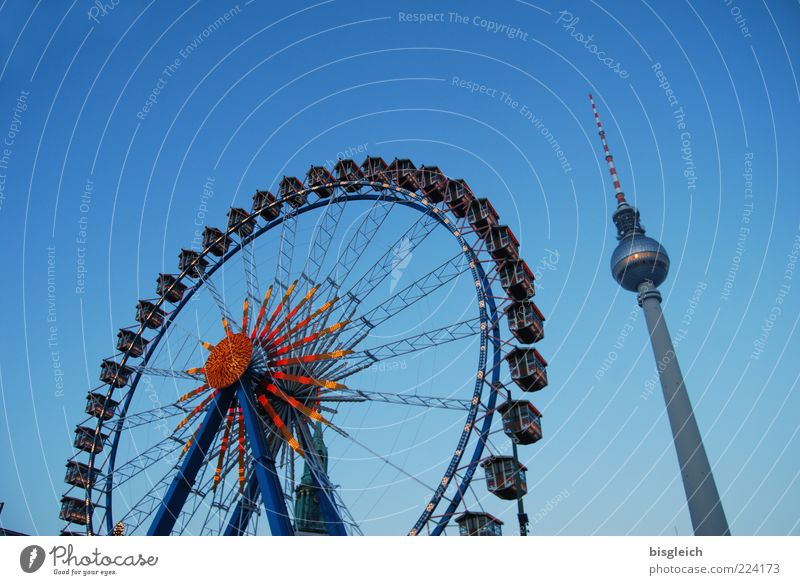 Ferris wheel at Alex Winter Sky Cloudless sky Berlin Berlin TV Tower Alexanderplatz Germany Europe Capital city Downtown Tourist Attraction Landmark Happiness