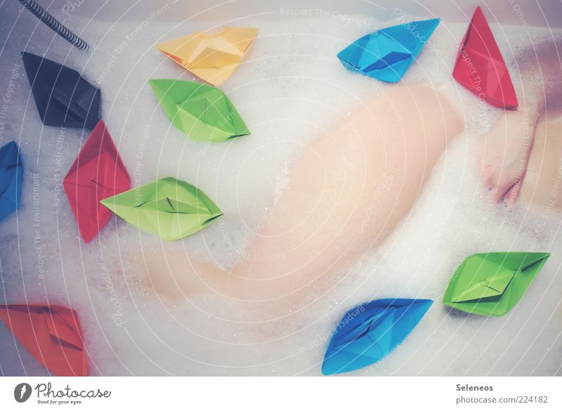 sinking ships Wellness Well-being Senses Relaxation Swimming & Bathing Bathroom Human being Hand Legs 1 Lie Clean Multicoloured Esthetic Creativity Origami