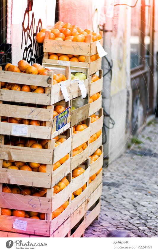Old Nutrition Food Orange Fruit Facade Many Delicious Tropical fruits Crate Stack Juicy Paving stone Competition Markets Fruity