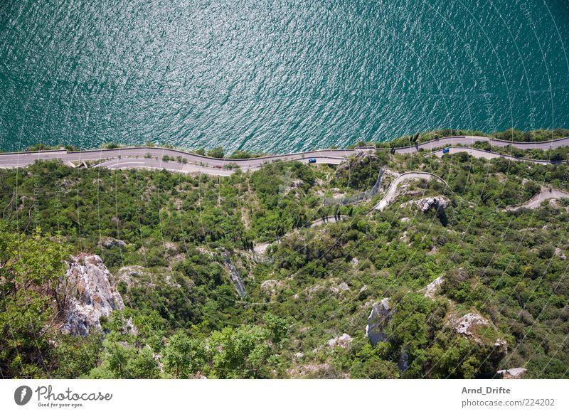 serpentines Landscape Beautiful weather Bushes Rock Mountain Waves Coast Lakeside Street Garda Lake Garda Curve Winding road Height Colour photo Exterior shot