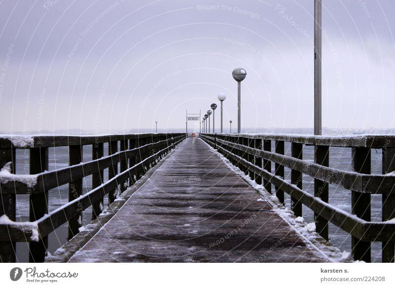 Winter Calm Wood Coast Ice Bridge Frost Footbridge Handrail Baltic Sea Ocean Environment Nature Sea bridge Wismar