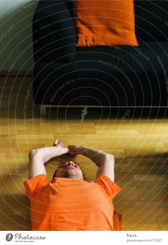 Man Orange Healthy Arm Floor covering Sofa Fitness Athletic Living room Musculature Gymnastics Cushion Parquet floor Unshaven Distend
