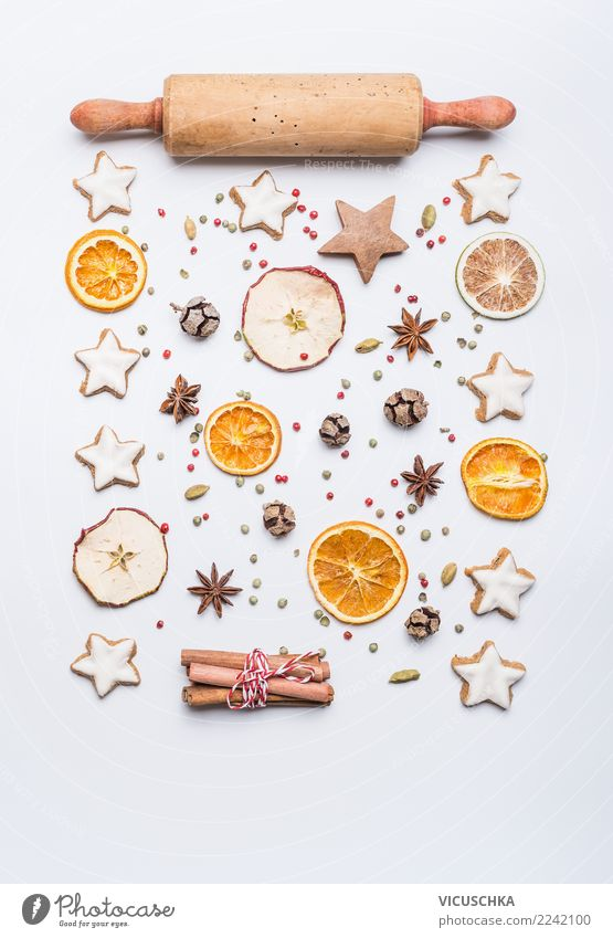 Christmas baking layout on white Dessert Candy Herbs and spices Banquet Shopping Style Design Winter Feasts & Celebrations Christmas & Advent Decoration Sign
