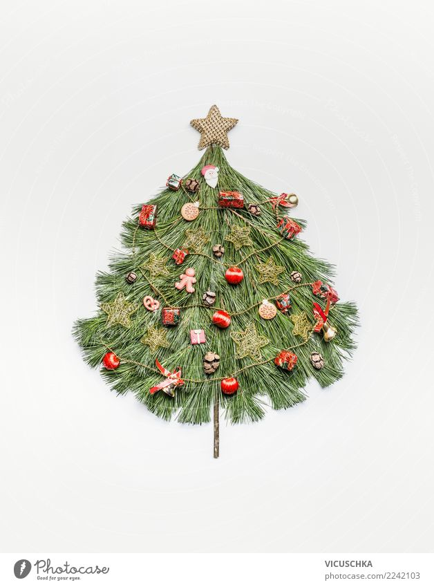 Christmas tree made with fir branches Style Design Vacation & Travel Winter Feasts & Celebrations Christmas & Advent Decoration Sign Ornament Tradition